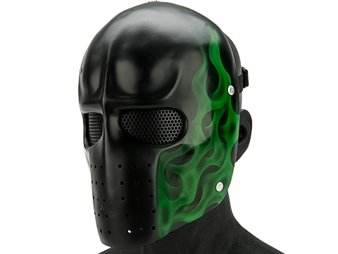 Evike.com R-Custom Fiberglass  Army Full Face Mask (Color: Green Flame / Mesh Lens)