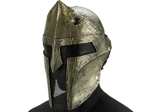 Evike.com R-Custom Fiberglass  Bounty Hunter Spartan Full Face Mask (Color: Gold / Mesh Lens)