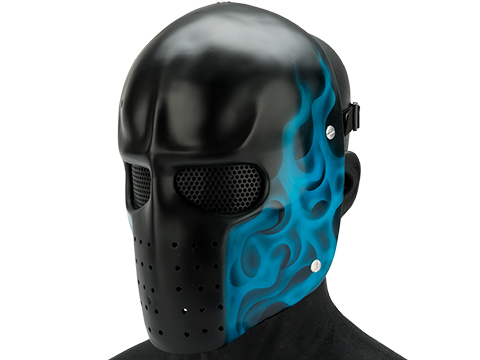 Evike.com R-Custom Fiberglass  Army Full Face Mask (Color: Blue Flame / Mesh Lens)