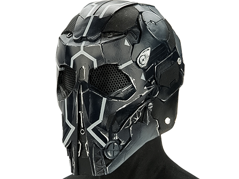 Evike.com R-Custom Fiberglass Raptor Full Face Mask (Color: White Black Line / Mesh Lens)