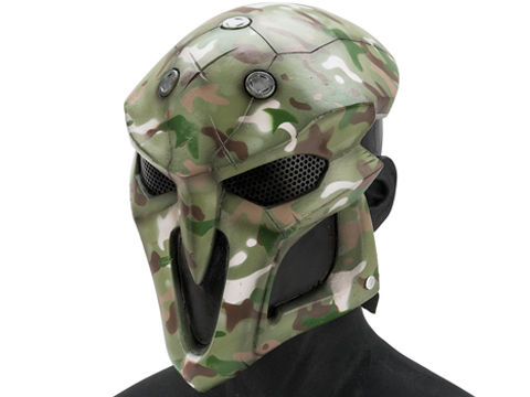 Evike.com R-Custom Fiberglass  Reaper Full Face Mask (Color: Woodland Camo / Mesh Lens)