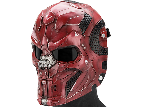 Evike.com R-Custom Fiberglass  CARVR Full Face Mask (Color: Red / Smoke Lens)