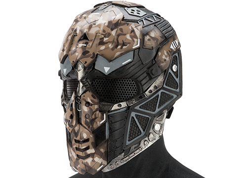 Evike.com R-Custom Fiberglass Raptor Full Face Mask (Color: Woodland Brown Camo / Mesh Lens)