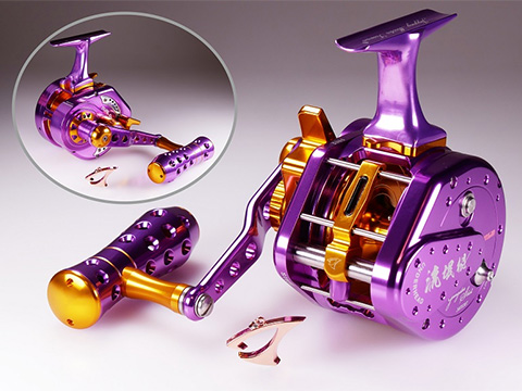 Jigging Master UnderHead Reel - Purple / Gold (Size: PE5NLH Left Hand / Narrow)