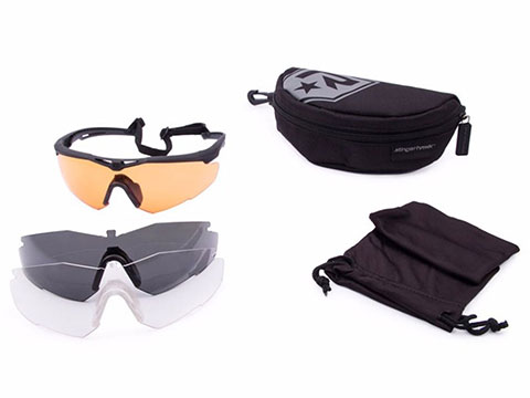 Revision Stingerhawk Deluxe Shooter's Ballistic Eyewear Kit (Color: Black Frame / Clear, Smoke, Vermillion Lens)