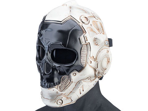 Evike.com R-Custom Fiberglass Cyber Skull Full Face Mask (Color: Reverse / Smoke Lens / Medium)