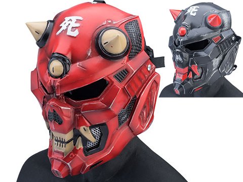 Evike.com R-Custom Fiberglass Oni Full Face Mask (Color: Red / Large / Smoke Lens)