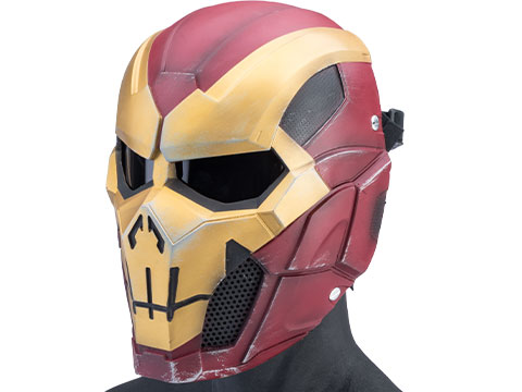 Evike.com R-Custom Fiberglass Iron Punisher Full Face Mask (Color: Red/Gold / Medium / Smoke Lens)