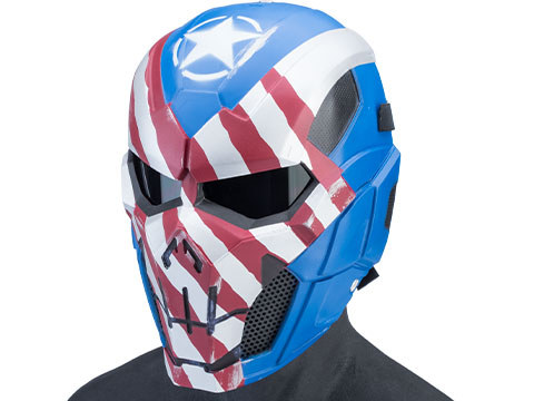 Evike.com R-Custom Fiberglass Iron Punisher Full Face Mask (Color: Patriot / Medium / Smoke Lens)