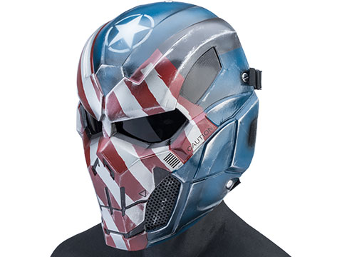 Evike.com R-Custom Fiberglass Iron Punisher Full Face Mask (Color: Patriot / Large / Smoke Lens)