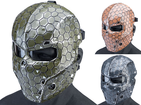Evike.com R-Custom Fiberglass Hive Full Face Mask (Color: Desert / Medium / Clear Lens)