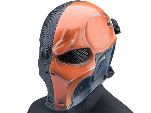 Evike.com R-Custom Fiberglass Merc V3 Full Face Mask (Color: Orange / Mesh / Medium)
