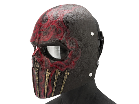 Evike.com R-Custom Fiberglass  Wraith Full Face Mask with Clear Lens (Color: Red Flame)
