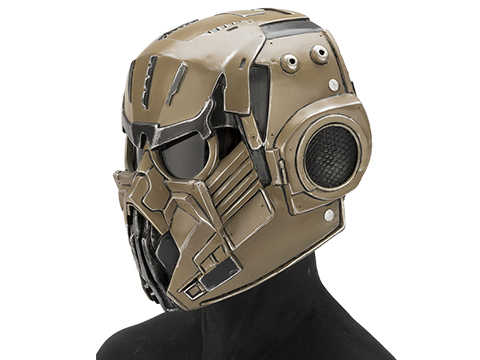 Evike.com R-Custom Fiberglass  Hellghast Full Face Mask with Grey Lens (Color: Desert)