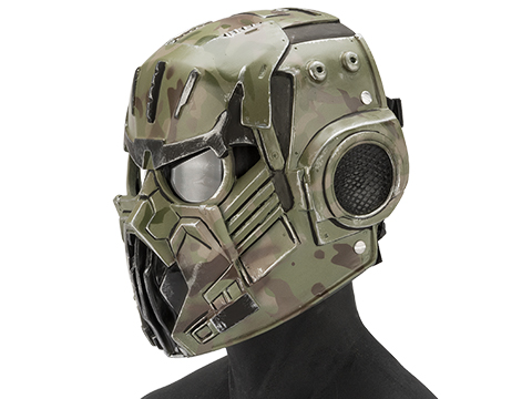 Evike.com R-Custom Fiberglass  Hellghast Full Face Mask with Clear Lens (Color: Woodland Camo)