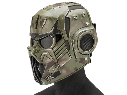 Evike.com R-Custom Fiberglass  Hellghast Full Face Mask with Grey Lens (Color: Woodland Camo)
