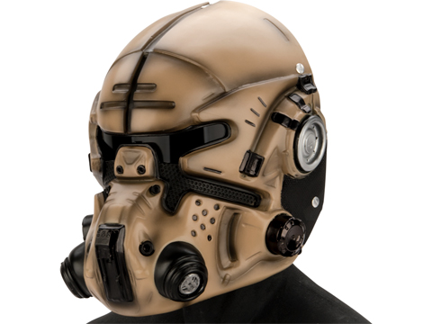 Evike.com R-Custom Titan Fall Pilot Fiberglass Mask (Color: Tan / Grey Lens)