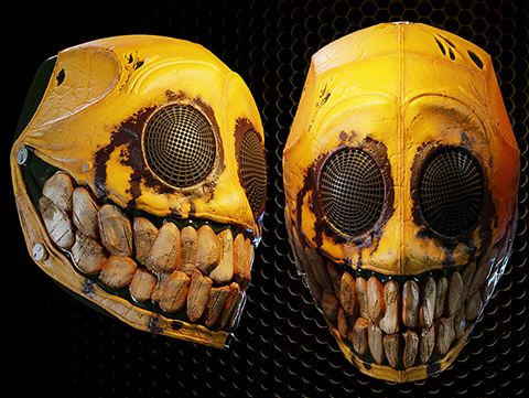 Evike.com R-Custom Fiberglass Smiley Full Face Mask (Color: Yellow / Mesh Lens - large)