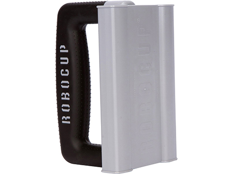 The RoboCup Rubberized Easy Carry Handle Accessory for Portable Beverage Caddy / Cup Holders (Color: Gray & Black)