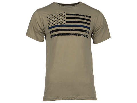 Rothco Thin Blue Line T-Shirt - Desert Sand (Size: Small)