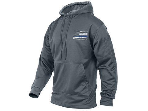 Rothco Thin Blue Line Concealed Carry Hoodie - Gray (Size: Medium)