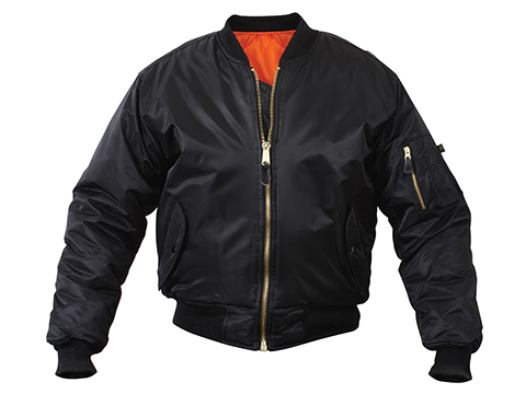Rothco MA-1 Flight Jacket (Color: Black  / Large)