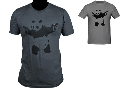Salient Arms Panda Screen Printed Cotton T-Shirt
