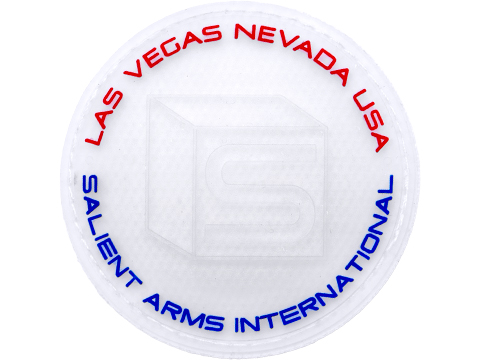 Salient Arms International Logo PVC Hook and Loop Morale Patch (Color: Clear / Blue & Red)