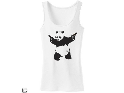 Salient Arms Panda Screen Printed Cotton Tank Top (Size: Womens Large)