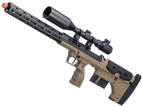 Desert Tech SRS-A2 22 Covert Pull Bolt Action Bullpup Sniper Rifle by Silverback Airsoft (Color: Flat Dark Earth / Right-Handed)