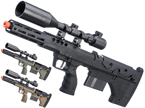 Desert Tech SRS-A2 16 Covert Pull Bolt Action Bullpup Sniper Rifle by Silverback Airsoft (Color: Black / Right-Handed)