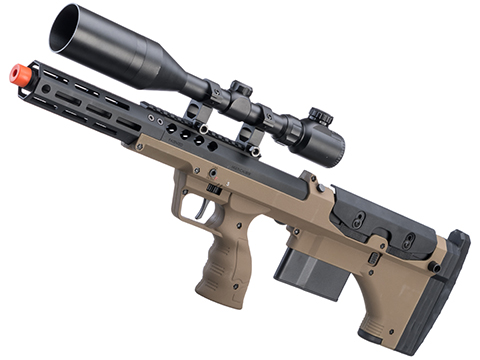 Desert Tech SRS-A2 16 Covert Pull Bolt Action Bullpup Sniper Rifle by Silverback Airsoft (Color: Flat Dark Earth / Right-Handed)