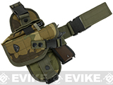 Matrix Special Forces Quick Draw Tactical Thigh Holster w/ Drop Leg Panel (Color: Woodland Camo / Left Leg)