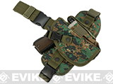 Matrix Special Forces Quick Draw Tactical Thigh Holster w/ Drop Leg Panel (Color: Woodland Marpat / Right)