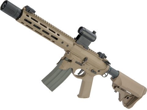 EMG / Sharps Bros Overthrow Licensed Advanced M4 Airsoft AEG Training Rifle w/ Slim Motor Grip (Color: Dark Earth / 12 SBR)