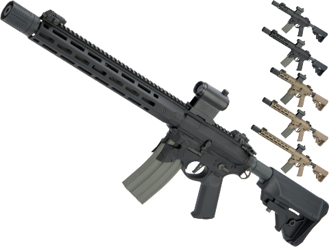 EMG / Sharps Bros Overthrow Advanced M4 Airsoft AEG Training Rifle w/ Slim Motor Grip (Color: Black / 16 RECCE)
