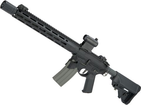 EMG / Sharps Bros Overthrow Licensed Advanced M4 Airsoft AEG Training Rifle w/ Slim Motor Grip (Color: Black / 16 RECCE)