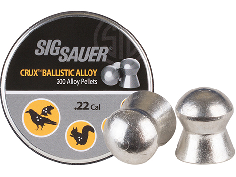 SIG Sauer Crux Ballistic Alloy Precision Domed .22 Caliber 10.03gr Lead Free Pellets (Qty: 200 Rounds)