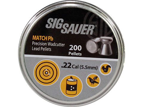 SIG Sauer Match Pb Precision Wadcutter .22 Caliber 13.73gr Lead Pellets (Qty: 200 Rounds)