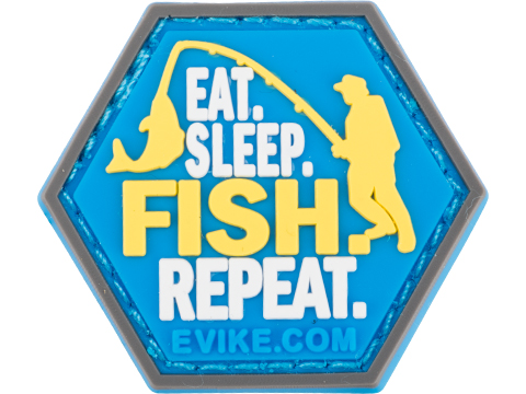 Operator Profile PVC Hex Patch Fishing Series 2 (Style: Eat Sleep Fish Repeat)