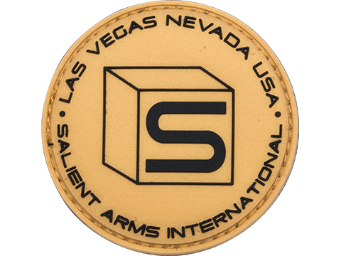 Salient Arms International Logo PVC Hook and Loop Morale Patch (Color: Gold / Black)