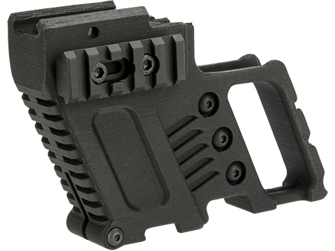 Slong Airsoft 3D Printed Front Grip with Magazine Caddy for Glock G17 G18C Series GBB Pistols (Color: Black)