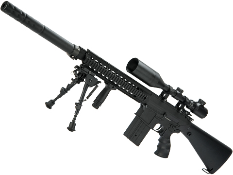 Matrix Full Size SR25 Precision Rifle Airsoft AEG (Model: Metal Receiver / Black)