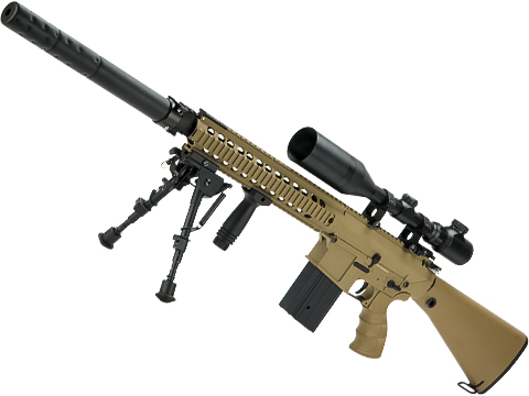 Matrix Full Size SR25 Precision Rifle Airsoft AEG (Model: Metal Receiver / Tan)