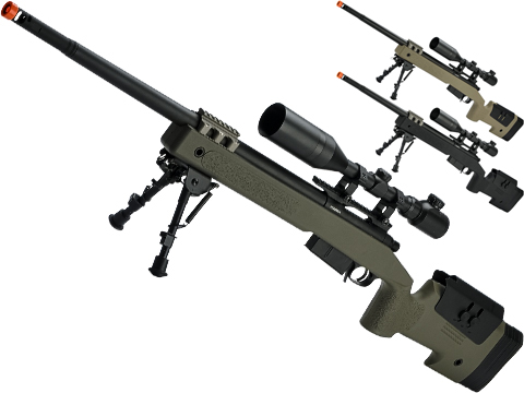 6mmProShop PDI Custom Upgraded USMC M40A5 Bolt Action Airsoft Sniper Rifle (Model: OD Green 500 FPS)