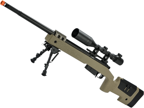 6mmProShop PDI Custom Upgraded USMC M40A5 Bolt Action Airsoft Sniper Rifle (Model: Tan)