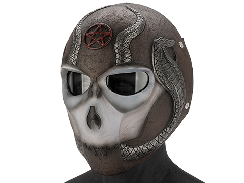 Evike.com R-Custom Fiberglass  Snake Eater Full Face Mask (Color: Black and White  / Clear Lens)