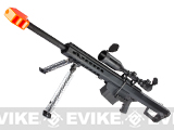 6mmProShop Barrett Licensed M82A1 Long Range Airsoft AEG Sniper Rifle (Color: Black / Compact Add 3-9X50 Scope)