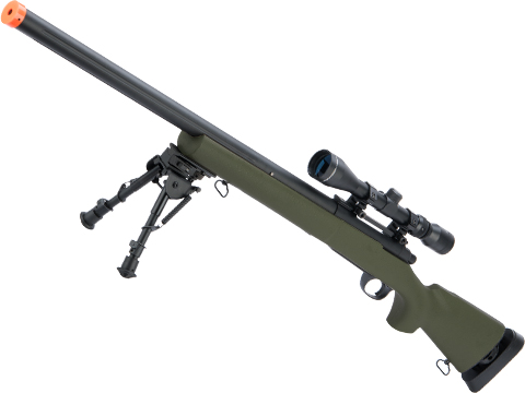 Snow Wolf US Army Style M24 Airsoft Bolt Action Scout Sniper Rifle w/ Fluted Barrel (Color: OD Green)
