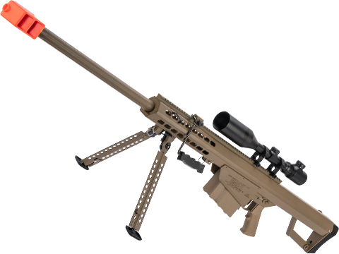 6mmProShop Barrett Licensed M82A1 Bolt Action Powered Airsoft Sniper Rifle (Color: Tan)